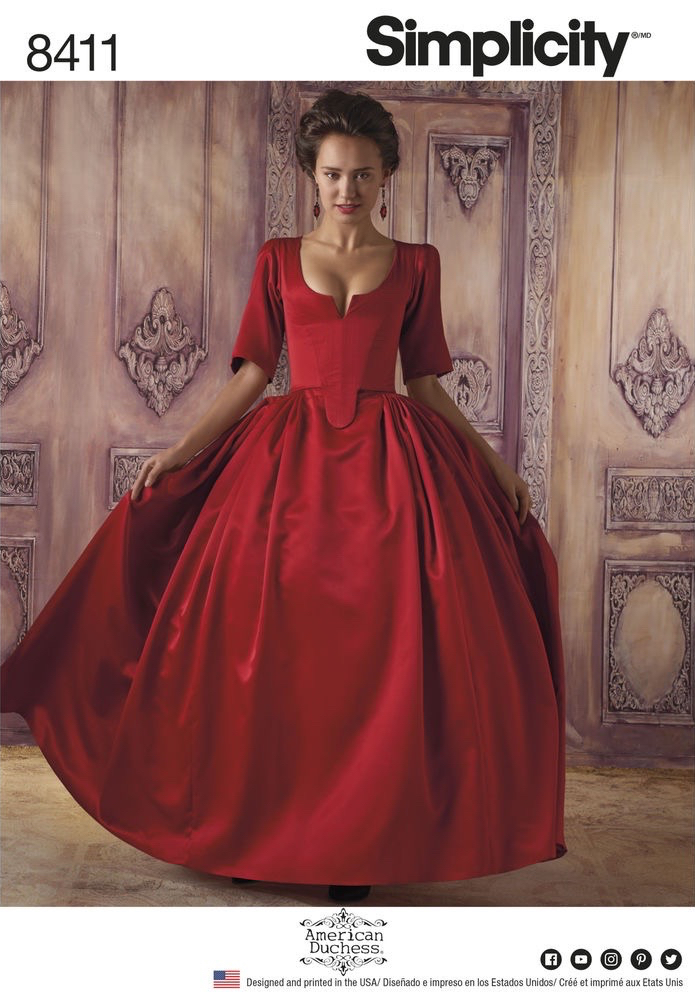 A pattern version of Claire Fraser's scandalous red dress - Simplicity 8411 by American Duchess (2017)