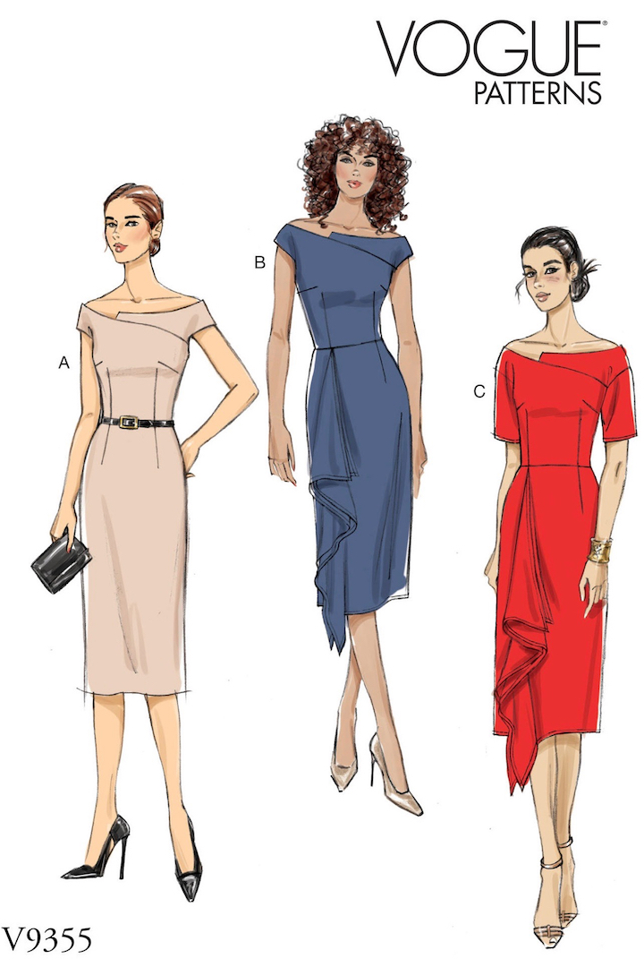 Vogue 9355 (2019) Adaptation of Roland Mouret's Barwick dress, worn by Meghan Markle V9355