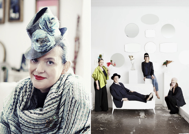 Milliner Cristina De Prada photographed by Germán Saiz in Paco Peralta's designs, 2013. Right: with Stephen Jones, Mabel Sanz, and Fátima de Burnay