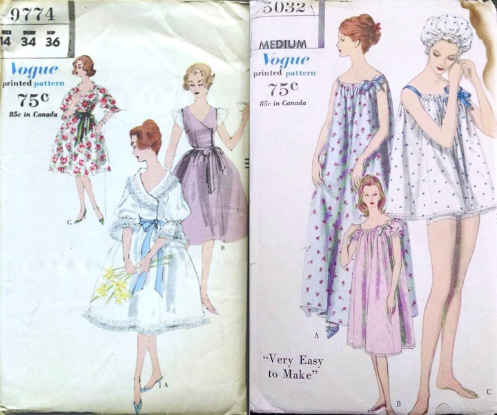 "Late 1950s-early 1960s lingerie patterns Vogue 9774 and Vogue 5032 ""Very Easy to Make"""