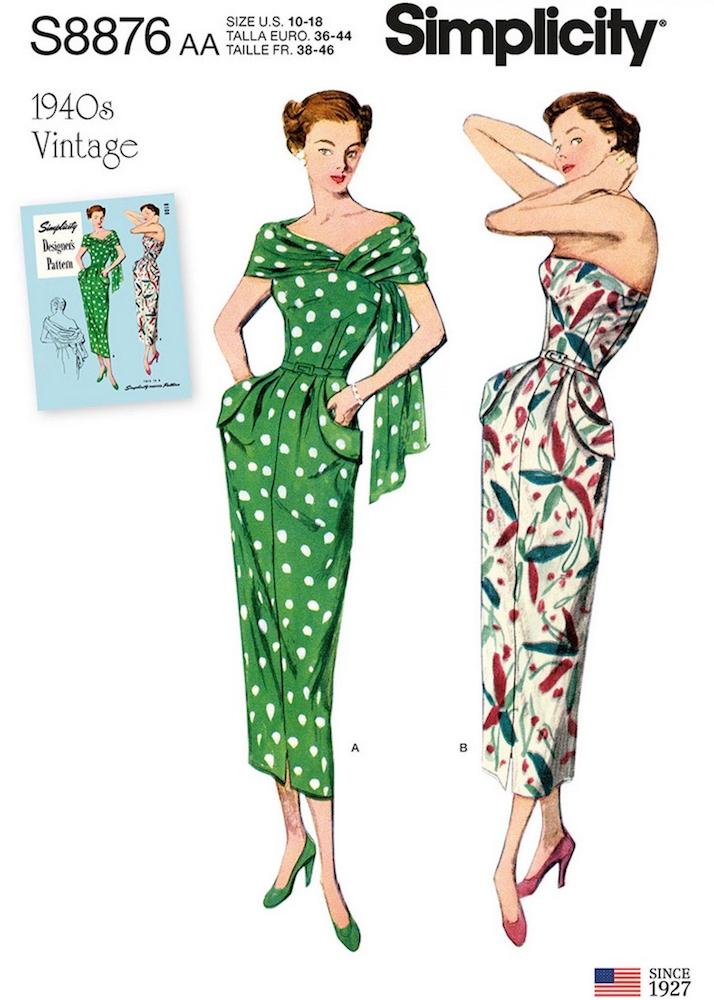 1940s vintage reissue Simplicity 8876 (2019)