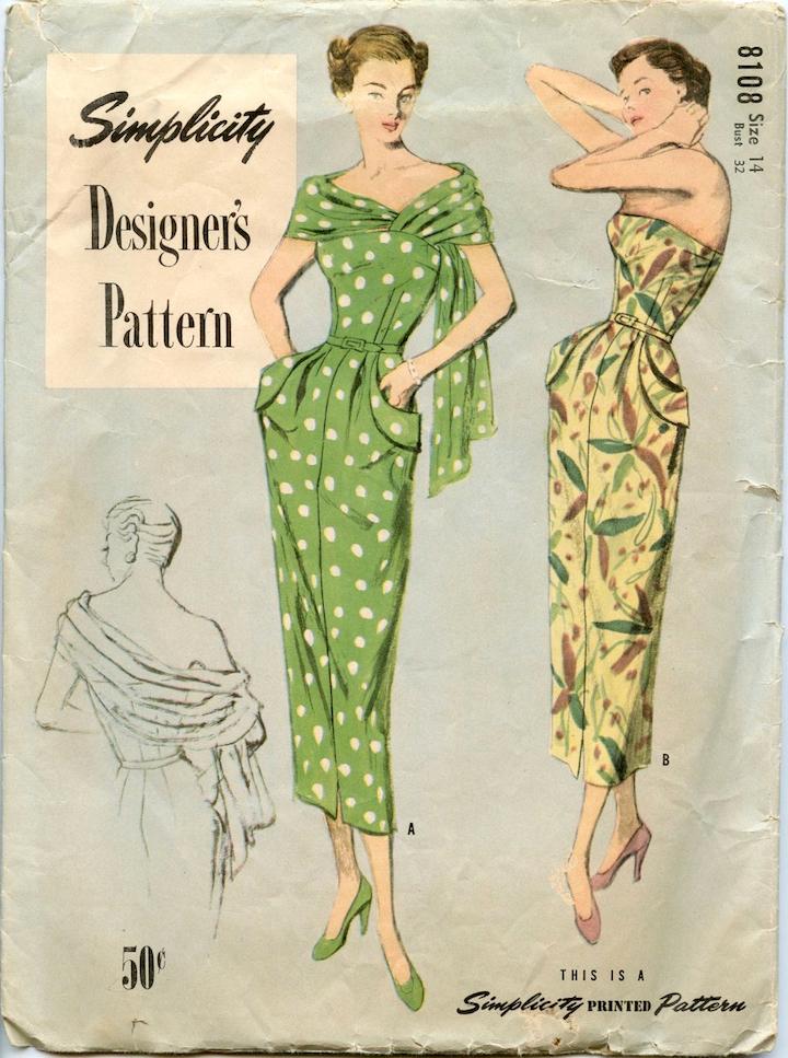 1940s stole dress pattern Simplicity Designer's Pattern 8108