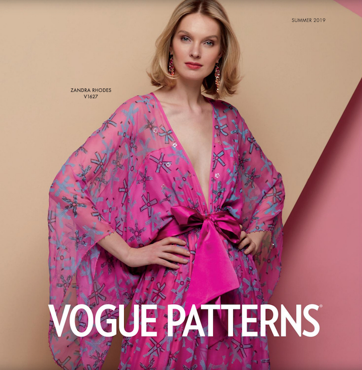 Zandra Rhodes pattern V1627 as worn by Ana Kondratjeva on the cover of the Vogue Patterns lookbook, Summer 2019