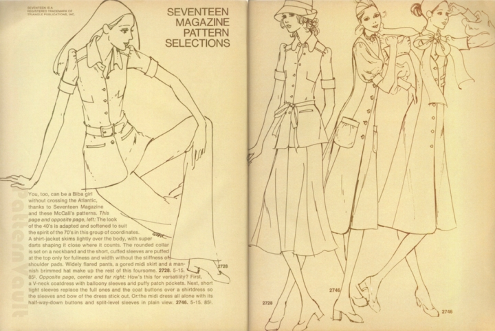 Seventeen Magazine Pattern Selections: You, too, can be a Biba girl without crossing the Atlantic