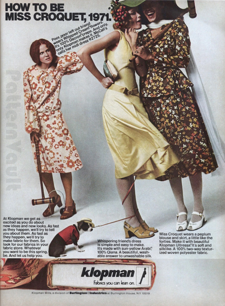 McCall's Pattern Fashions Spring 1971 Klopman