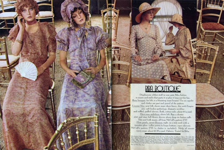 "Sarah Moon's ""Biba Boutique"" McCall's editorial in Seventeen Magazine, Jan. 1971"