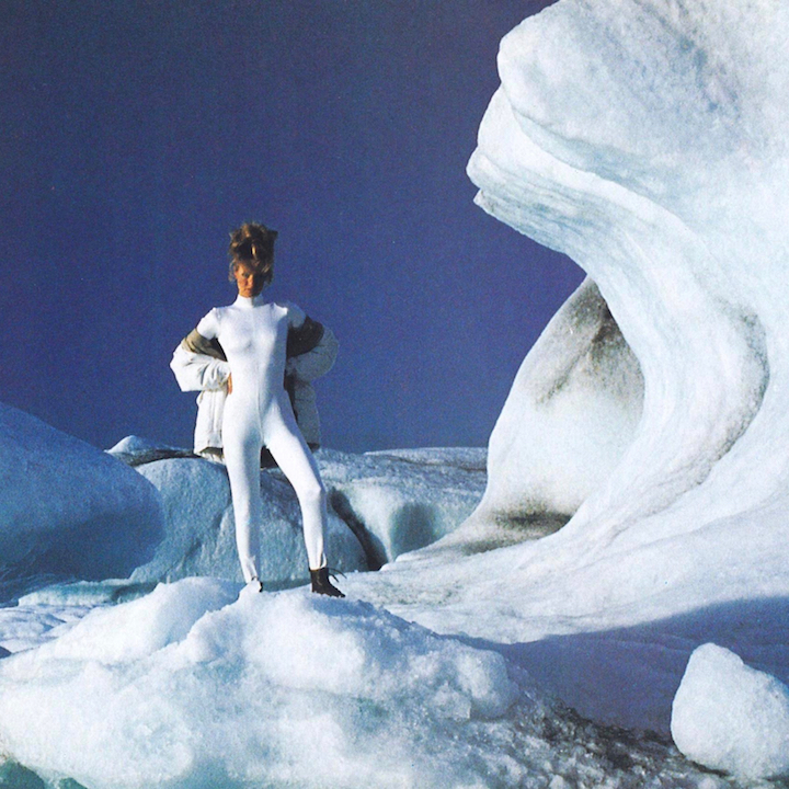 Vogue 7849 unitard worn in Iceland by Karen Mulder