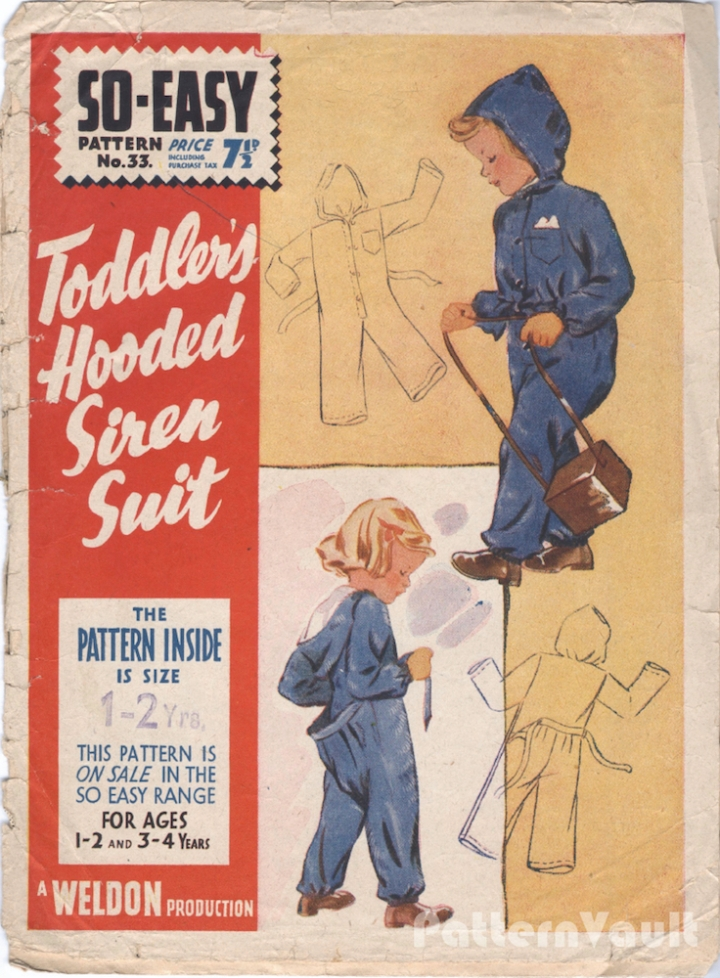 1940s Toddler's Hooded Siren Suit pattern Weldons 33