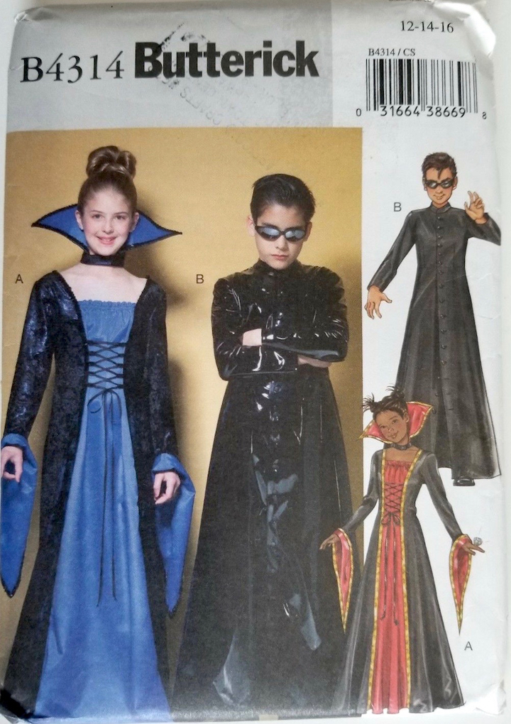 Witch + Neo from the Matrix costume pattern - Butterick 4314