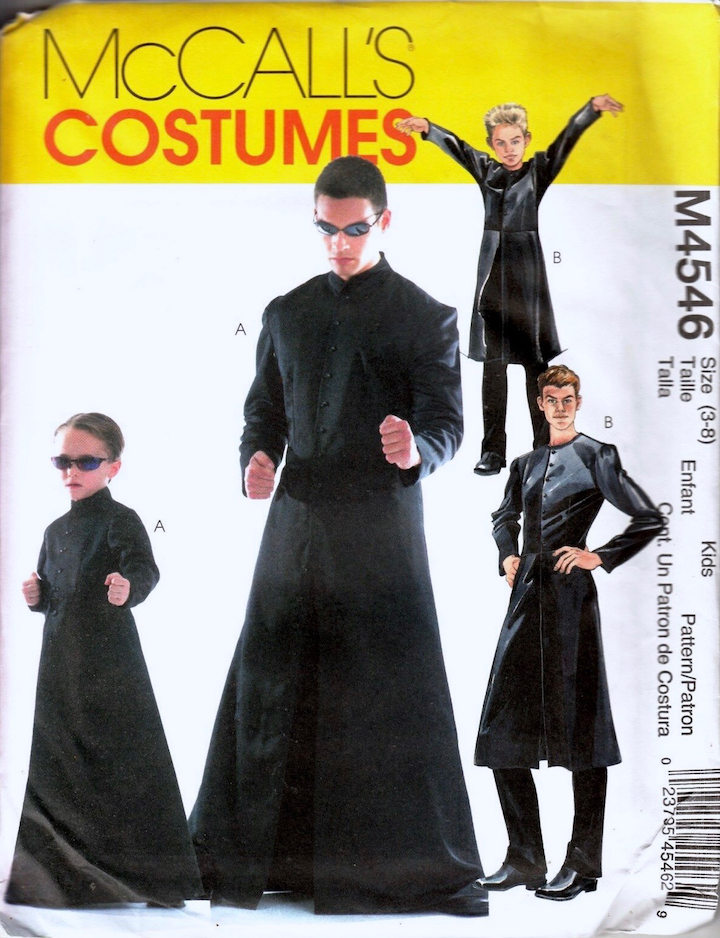 Adult and children's Neo / Matrix costume - McCalls 4546