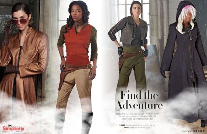 Trinity, Zoe Washburne, Jyn Erso, and Kingdom Hearts costume patterns. Find the Adventure - Simplicity Autumn 2017 catalogue