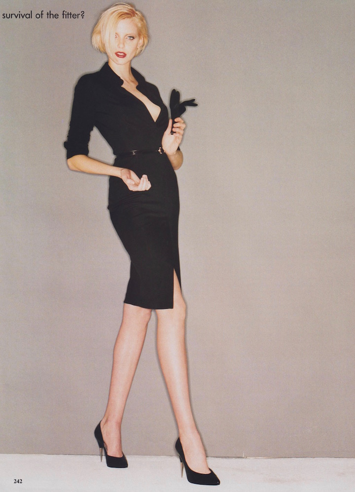 Nadja Auermann in Richard Tyler for Anne Klein, Vogue February 1995