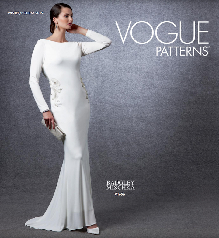 Vogue Patterns Winter/Holiday 2019 lookbook with V1656 gown by Badgley Mischka
