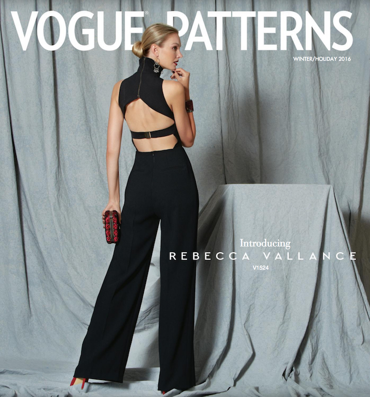 V1524 by Rebecca Vallance design on the cover of Vogue Patterns lookbook, Winter 2016