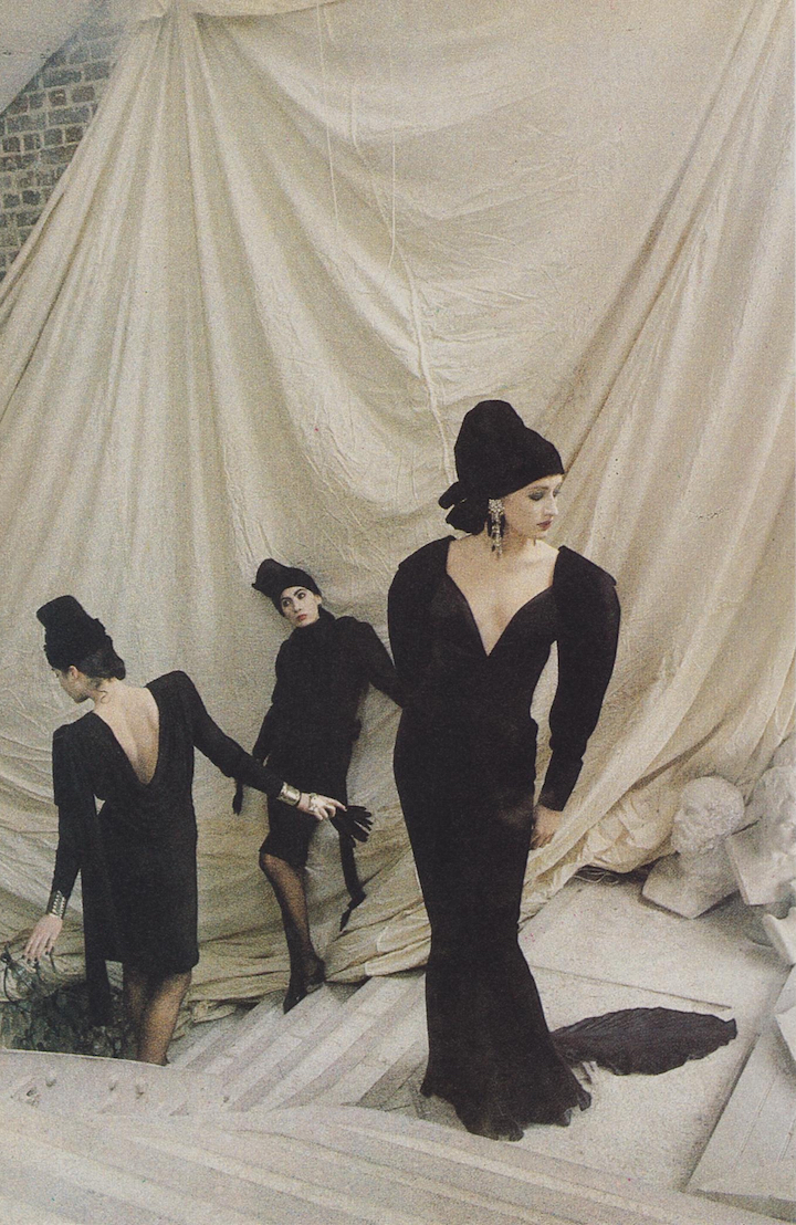 Anh Duong and models in Emanuel Ungaro Haute Couture photographed by Deborah Turbeville, 1985