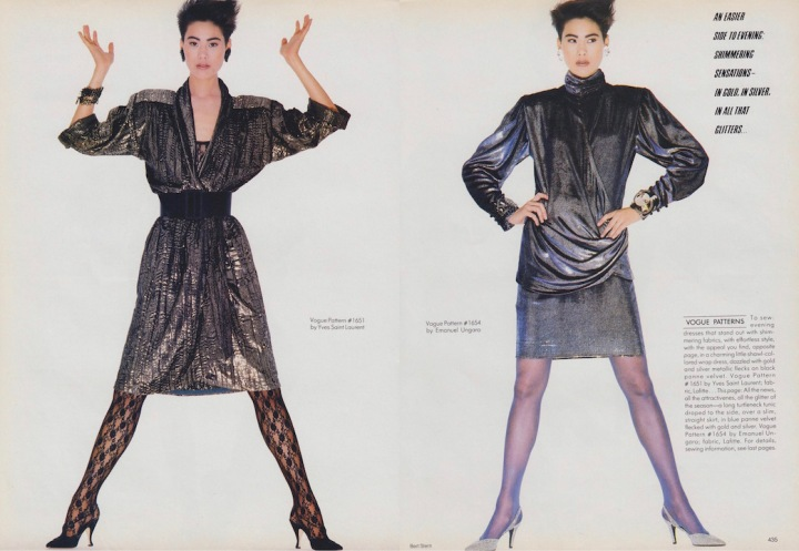 Ariane Koizumi photographed by Bert Stern in Vogue 1651 by Yves Saint Laurent and Vogue 1654 by Emanuel Ungaro, 1985