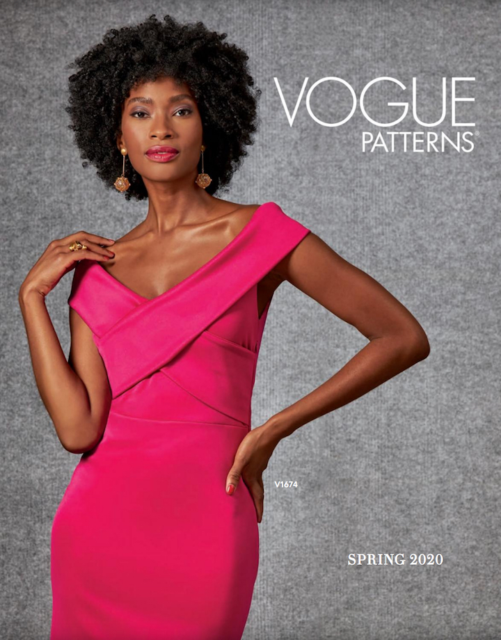 Tatyana Cooper wears bodycon dress pattern V1674 on the cover of the Spring 2020 Vogue Patterns lookbook