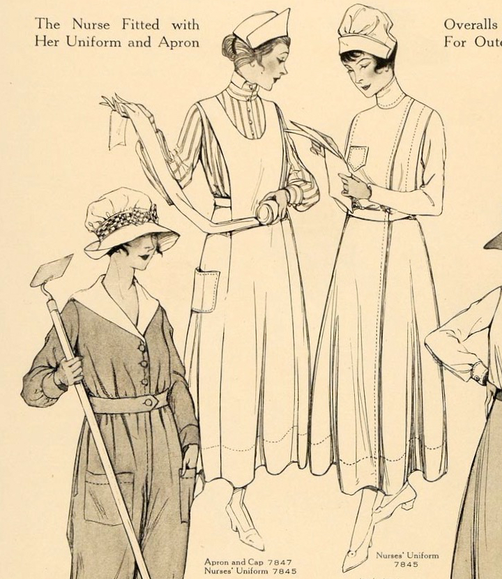 World War 1 nurse uniform pattern McCall 7845 with apron and cap pattern McCall 7847 in McCall's magazine, July 1917.