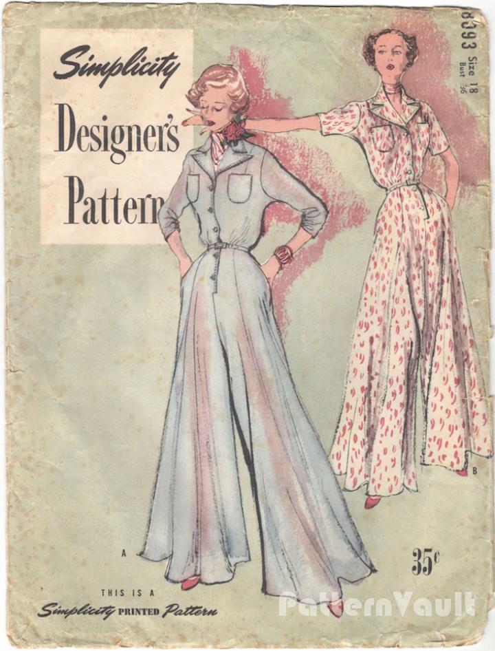 Postwar hostess pyjamas jumpsuit pattern - Simplicity Designer's Pattern 8093
