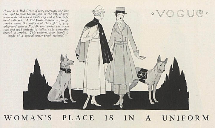 Claire Avery WW1 illustration: Woman's Place is in a Uniform, Vogue, July 1918