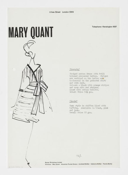 1960s design for 'Georgie' and 'Rosie' dress by Mary Quant