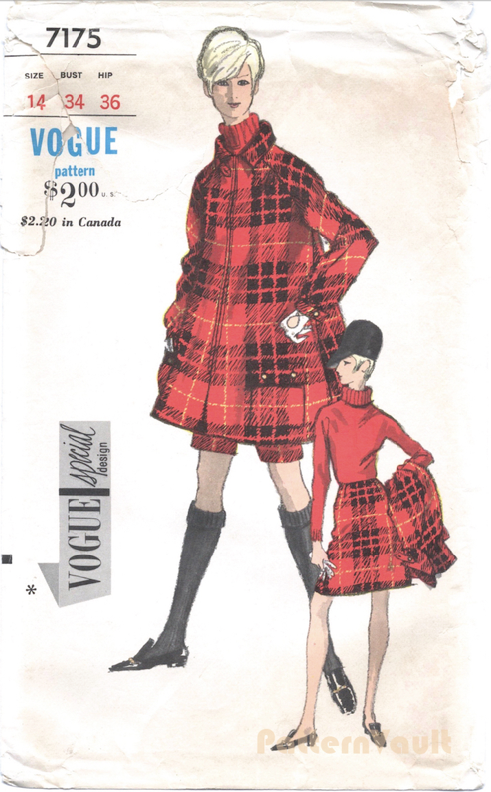 1960s coat, skirt, and short pants pattern Vogue Special Design 7175