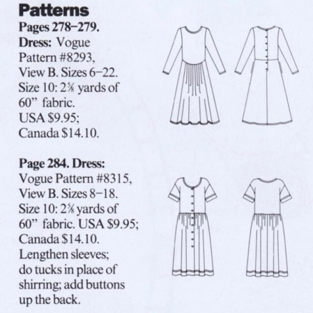 Very Easy Vogue Sport 8293 and Vogue Sport 8315 - Lengthen sleeves; do tucks in place of shirring; add buttons up the back