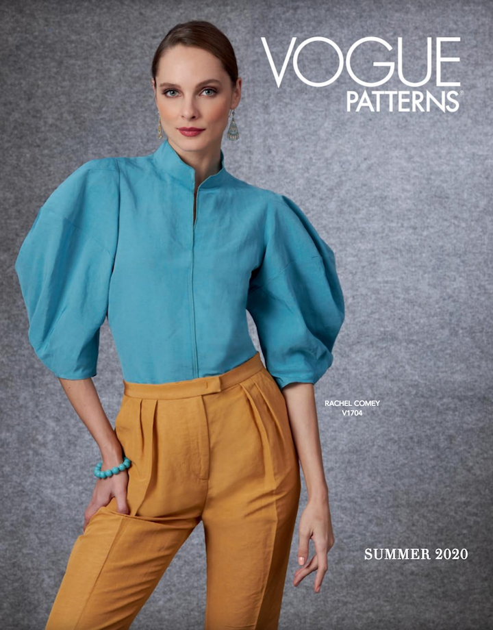 Rachel Comey top and pants (V1704) on the cover of Vogue Patterns lookbook, Summer 2020