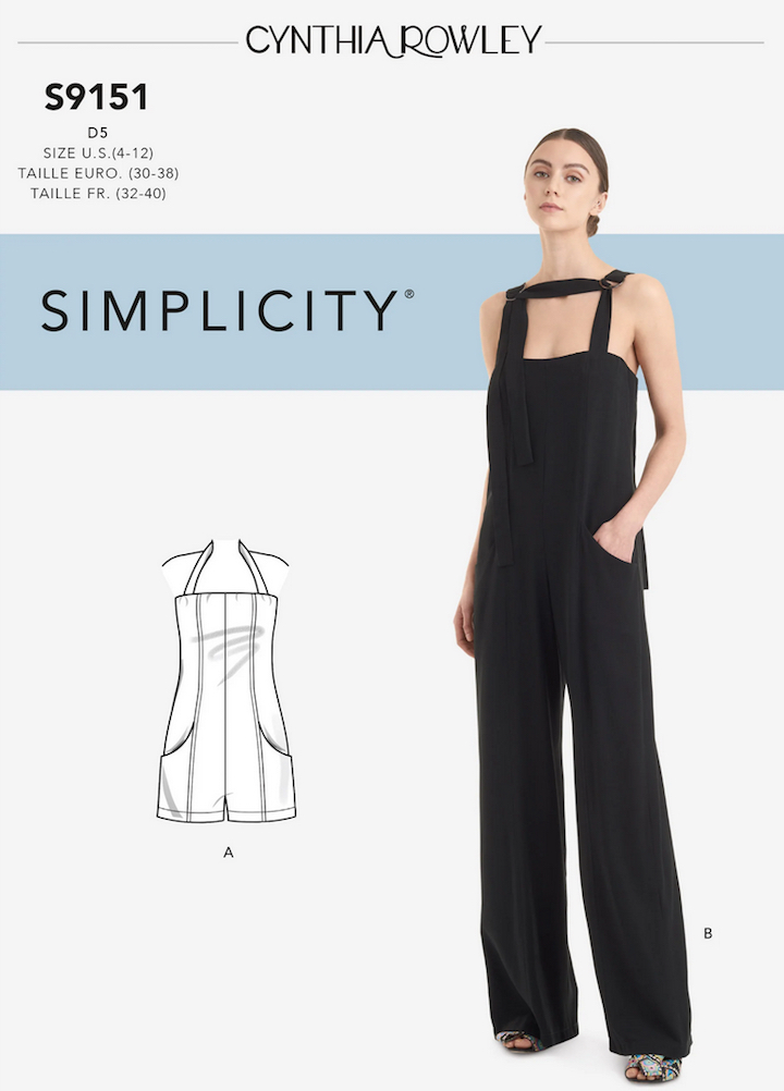 Black D-ring Cynthia Rowley jumpsuit pattern S9151