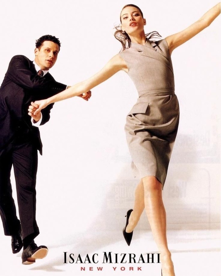Isaac Mizrahi and Shalom Harlow photographed by Dewey Nicks for the Isaac Mizrahi Spring 1998 ad campaign