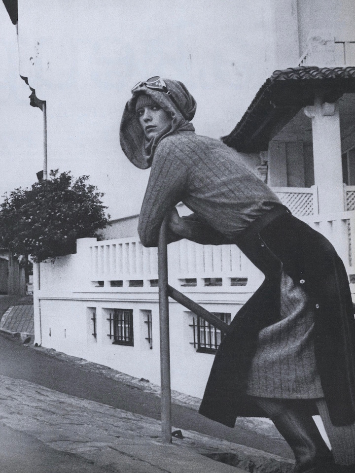 Vibeke Knudsen photographed in a Kenzo dress and skirt ensemble outside Biarritz by Helmut Newton, 1975