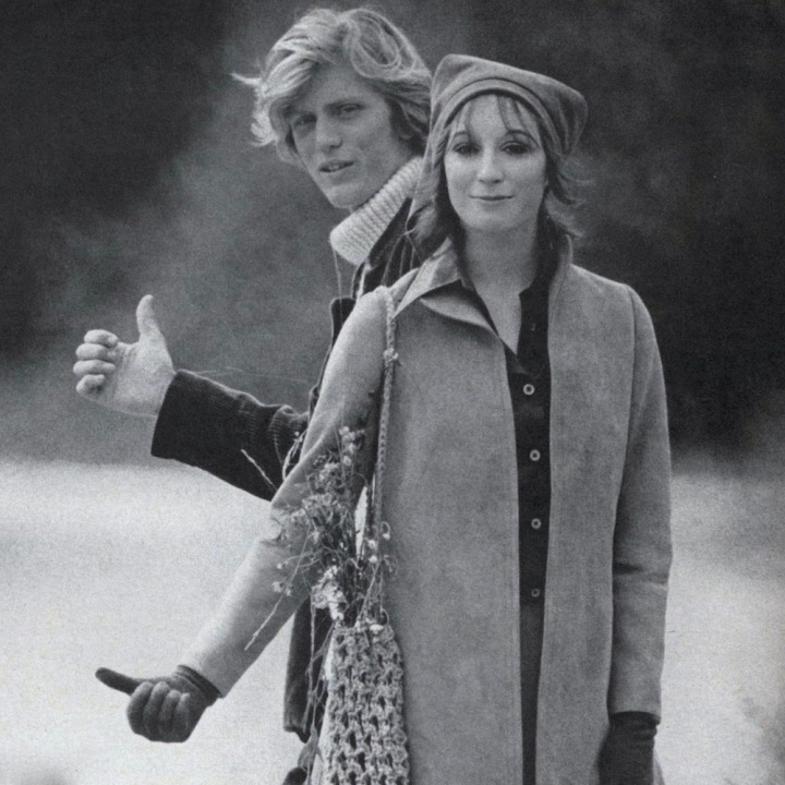 Richard Avedon, Anjelica Huston and male model Harvey in Ireland, Vogue, October 15, 1969