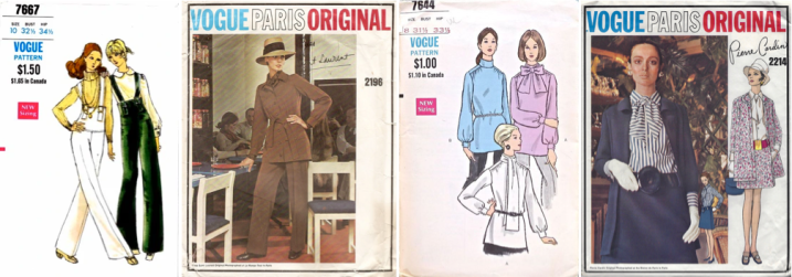 Vogue 7667, Vogue 2196 (YSL); Vogue 7644, Vogue 2214 (Cardin)