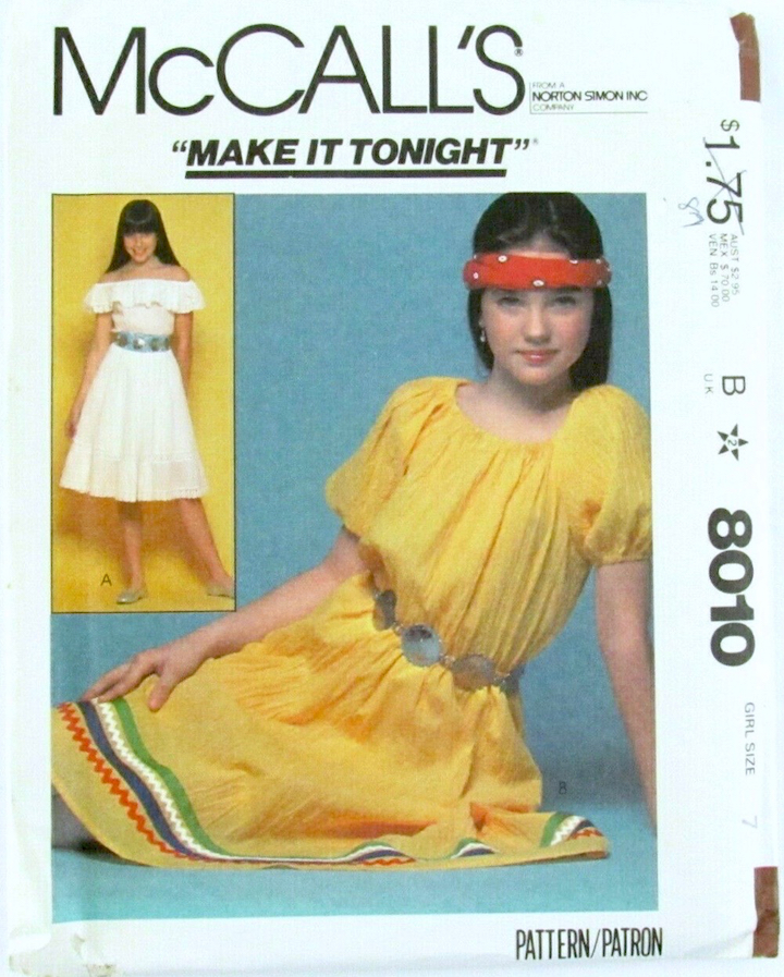 "1980s McCall's ""Make It Tonight"" dress pattern no. 8010 featuring Jennifer Connelly"