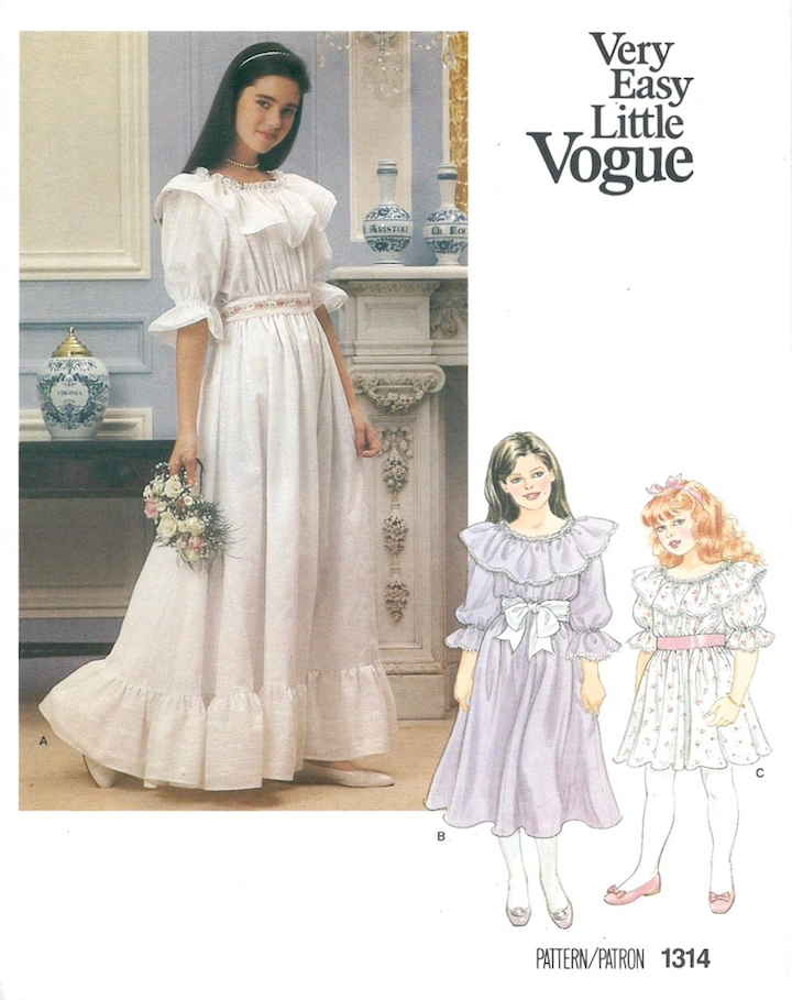 1980s Very Easy Little Vogue bridesmaid pattern no. 1314 featuring Jennifer Connelly