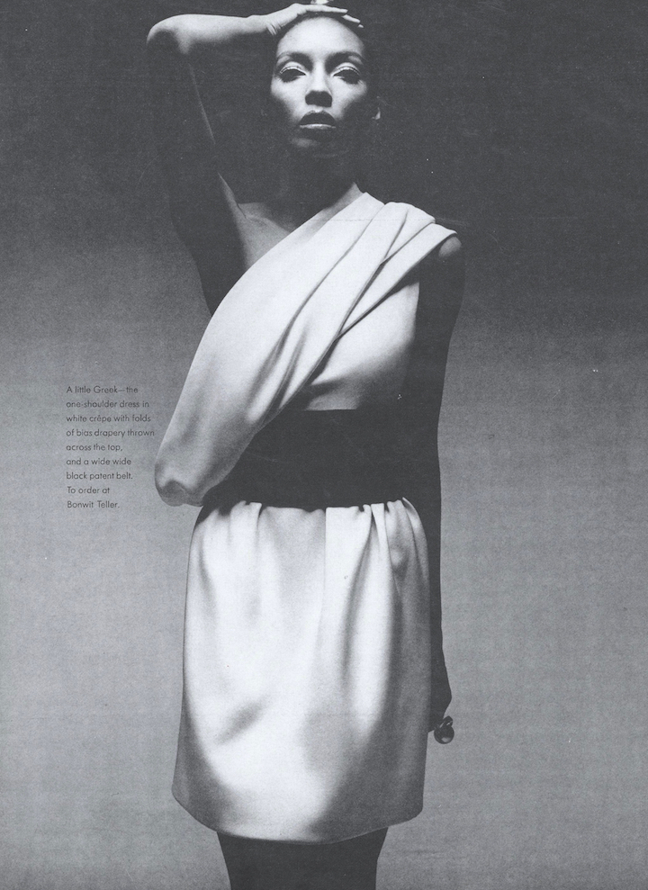 Short, one-shouldered white crepe evening dress with wide patent belt, Pierre Cardin Spring 1969 haute couture (Vogue Paris Original 2193)