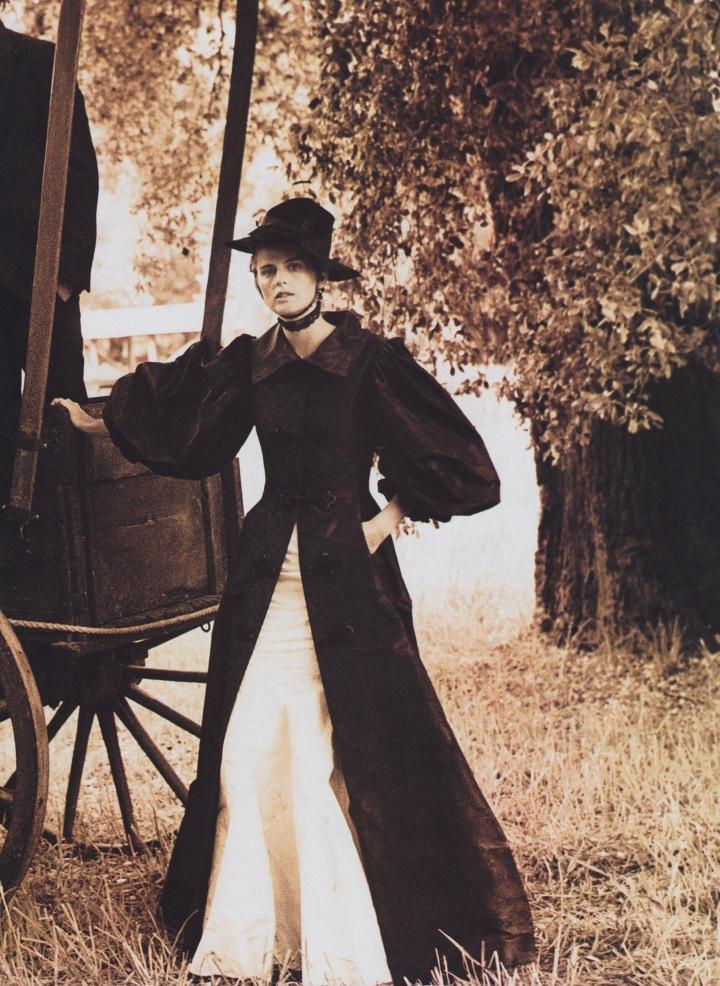 Stella Tennant in Oscar de la Renta opera coat, Oh, Pioneers! Arthur Elgort / Grace Coddington