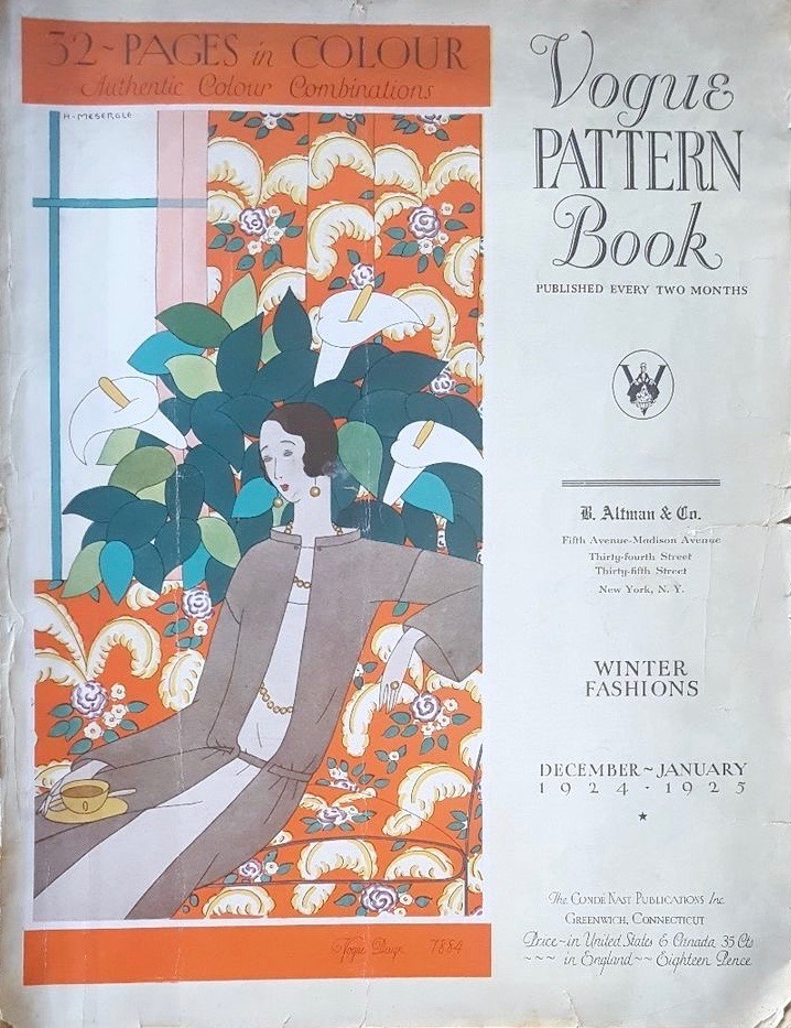 Vogue 7884 illustration by Harriet Meserole on the cover of Vogue Pattern Book, December–January 1924–25
