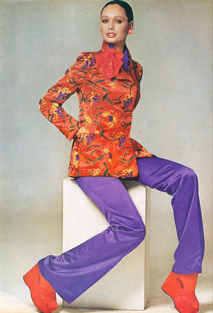 Gianni Penati, Vogue 2598 jacket by Yves Saint Laurent, 1972.  KJL earrings, Echo Designs scarf; flower by Dulken and Derrick; Golo shoes. Roman Stripe tights.