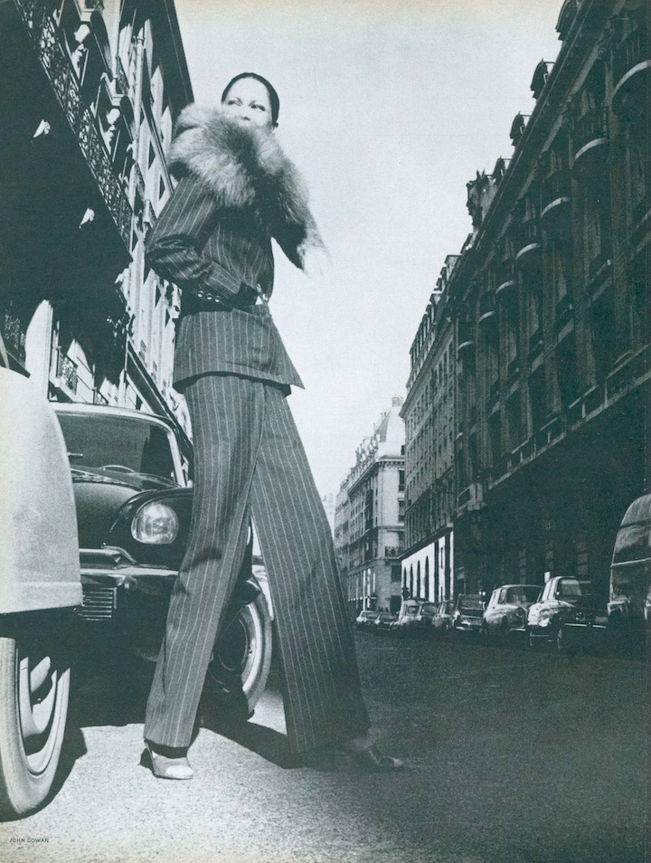 John Cowan, Editha Dussler in Paris, Yves Saint Laurent Libération pantsuit, 1971.