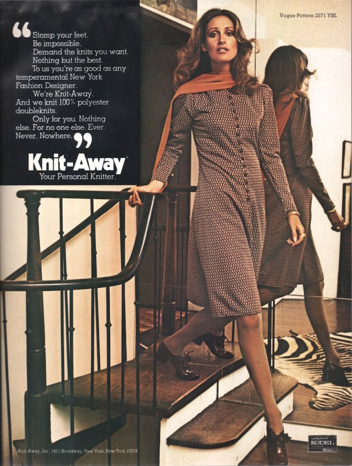 Knit-Away: Your Personal Knitter. Polyester double-knit advertisement with Vogue 2571 by Yves Saint Laurent, 1971