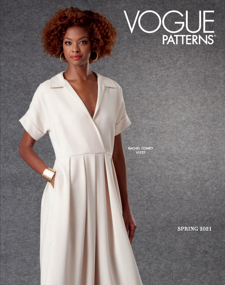 Vogue 1777 Tempo dress pattern by Rachel Comey on the cover of the Vogue Patterns lookbook Spring 2021