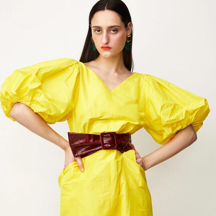 Rachel Comey yellow taffeta puff-sleeve dress, Resort 2020