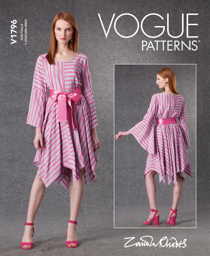 V1796 pink striped handkerchief dress pattern by Zandra Rhodes (2021)