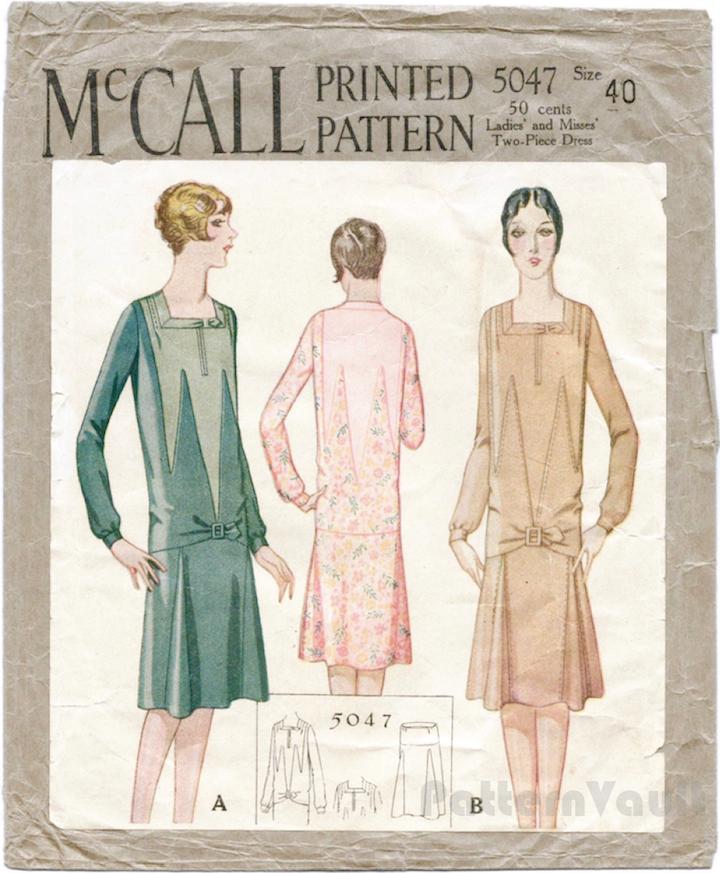 1920s Patou Art Deco dress pattern - McCall 5047